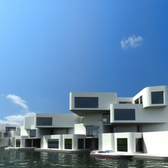 Intended to be Europe's first floating apartment building, The Citadel would have 60 units with parking spaces and terraces. It's part of The New Water project that also includes some 600 floating houses between Rotterdam and The Hague to be completed by 2017. by Waterstudio.NL