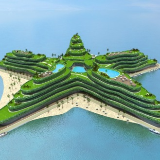 The Greenstar, a $500 million floating hotel, is one of five floating island projects under development by Waterstudio.NL and Dutch Docklands for the Maldives government. The floating island hotel would feature 800 rooms, a conference room and a golf course. By WaterStudio NL