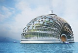 The Ark is a hotel by Russian design firm Remistudio and is meant to be self-sufficient. The transparent foil roof would allow light to reach plants inside, and the waste produced in the building would be converted into fuel.The cupola is meant to be energy-efficient, and its shell basement with cables and arches is designed to distribute weight evenly to make it earthquake- and flood-resistant. By RemiStudio
