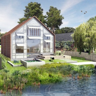 The U.K.'s first amphibious house was granted full planning permission and is set to be built by Baca Architects on the banks of the River Thames later this year. During dry times, the home will rest on fixed foundations. If it floods, the entire structure will rise with the water but stay tethered. by Baca Architects
